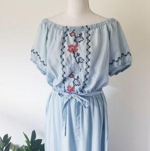 Old Navy Embroidered Off Shoulder Blue Dress